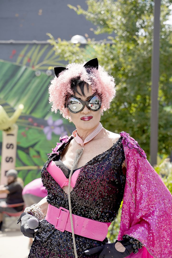 Close-up of Drag Queen in pink cat costume